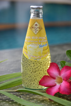 Basil Seed Drink with Banana Flavor in glass bottle (290ml)