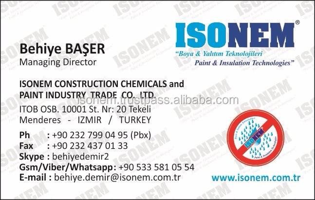 ISONEM PAINTS AND INSULATION TECHNOLOGIES TURKEY LOOKING FOR EXCLUSIVE DISTRIBUTORS, WHOLESALER, SEEKING FOR BUSINESS PARTNERS