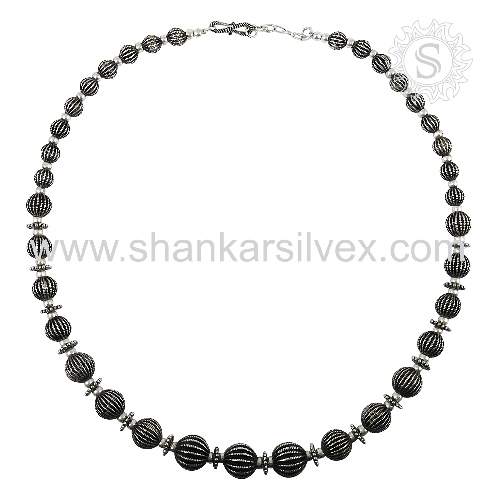 Trending Accessories Of Wholesale Plain Silver Beaded Necklace Indian Silver Jewelry 925 Sterling Silver Jewelry