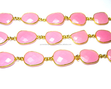 Gold Plated Rose Pink Chalcedony Gemstone Bezel Connector Chain - 10-13mm Stone