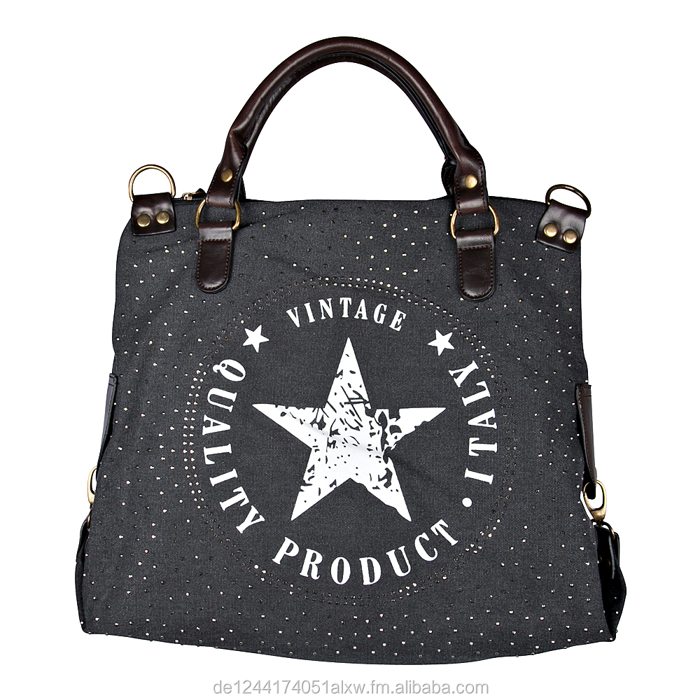 Women's Fashion XXL Trend Fashion Handbag with Rhinestone Bag in Canvas Raw Vintage-Look Women's Shoulder Bag with Star s