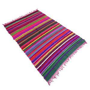 "Multicolor Hand Woven Recycled Chindi Cotton Rag Rug Floor Indian Carpet Dari 70"" X 46"" RUG1093A"