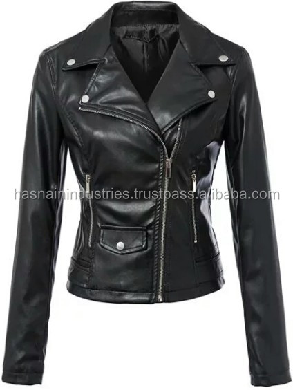 Motorcycle Leather Jacket for Women