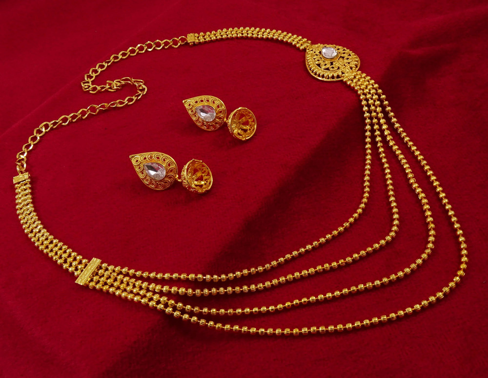 Goldplated Traditional Necklace Earring Set Indian Bridal Women Party Jewelry IMRB-BNG138A