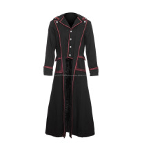 Men's officer coat black with red stripes , Gothic clothing