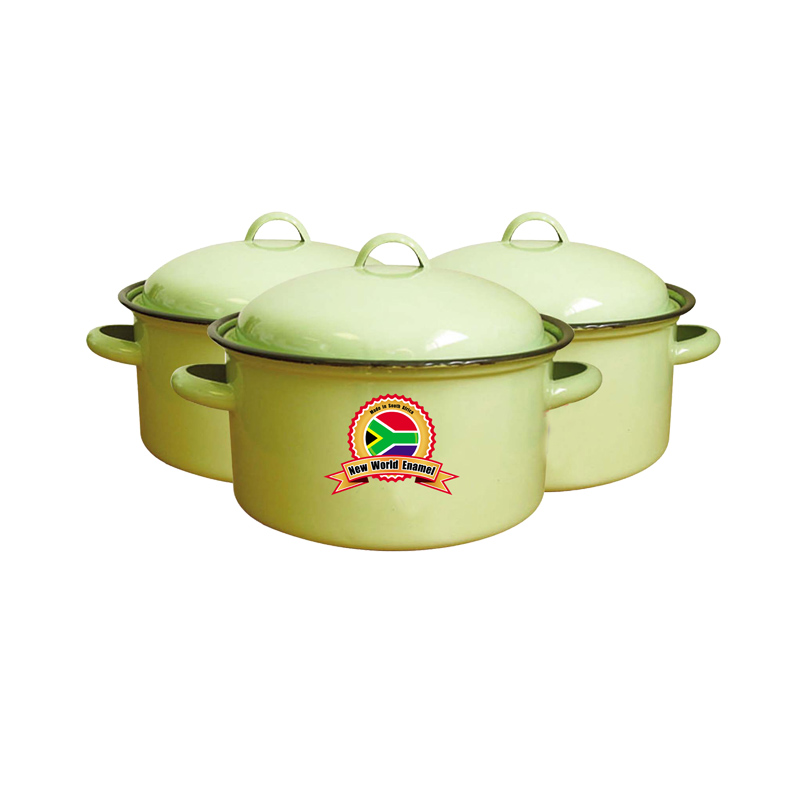 South Africa factory high quality Enamelware cooking Pot Set 6pc yellow green black color