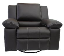 Modern Motion Furniture Single Rocker 360 Swevil Black Synthetic Leather Recliner Glider Chair 002300113