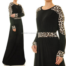 Royal Leopard print on both hand and waist pure black design Leopard Print Black Jersey Dolman Sleeves Abaya Maxi Dress.