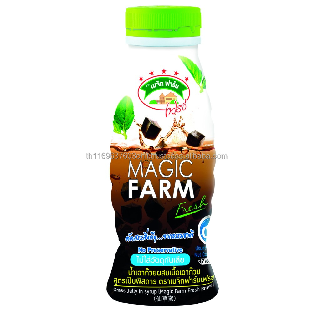 Coconut Juice with Nata de coco Grass Jelly in Syrup MAGIC FARM Factory in Thailand