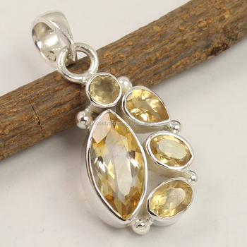 Natural CITRINE Gemstone 925 Sterling Silver Jewelry Women's Fashion Pendant