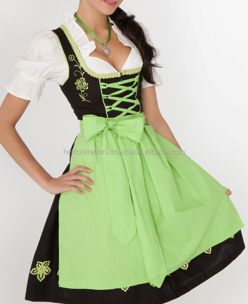 Black Dirndl with Green Apron/ German Oktoberfest Dirndl with embroidery