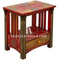 TRADITIONAL INDIAN HAND PAINTED NIGHT STANDS WITH MULTI COLOUR EMBOSSED PAINTED-INDIAN HAND PAINTED FURNITURE
