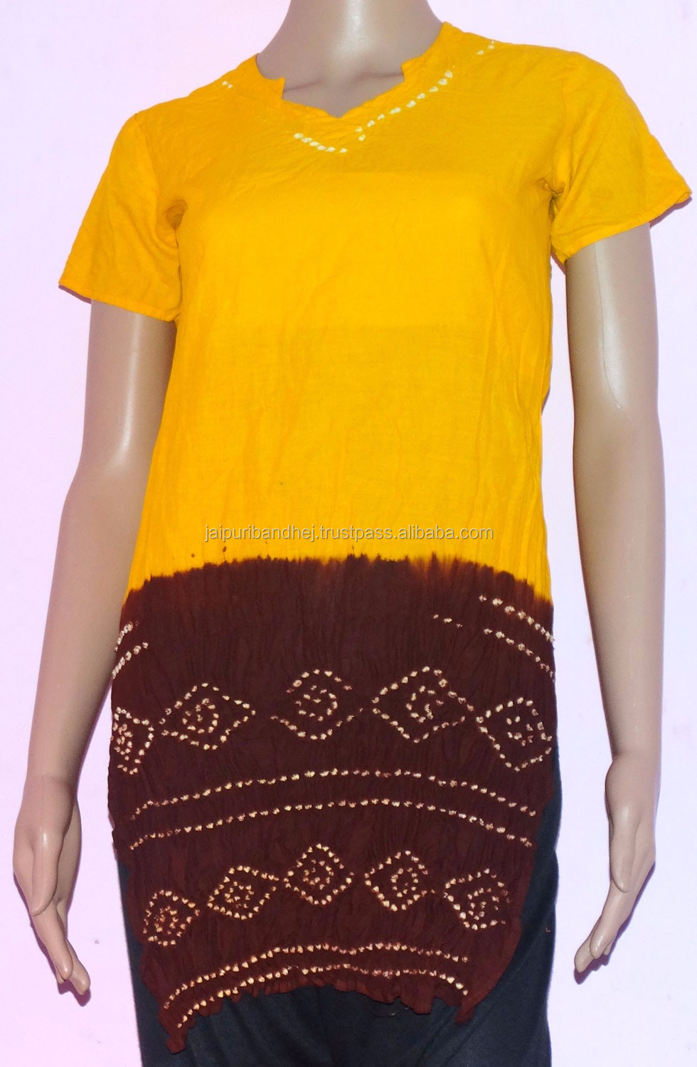 Indian Latest Tie Die bandhej Kurti Kurta Cotton Tunic Designer Kurtis