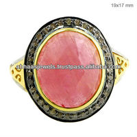 Turquoise Gemstone 14K Yellow Gold Vintage Ring 925 Sterling Silver Diamond Ring Supplier