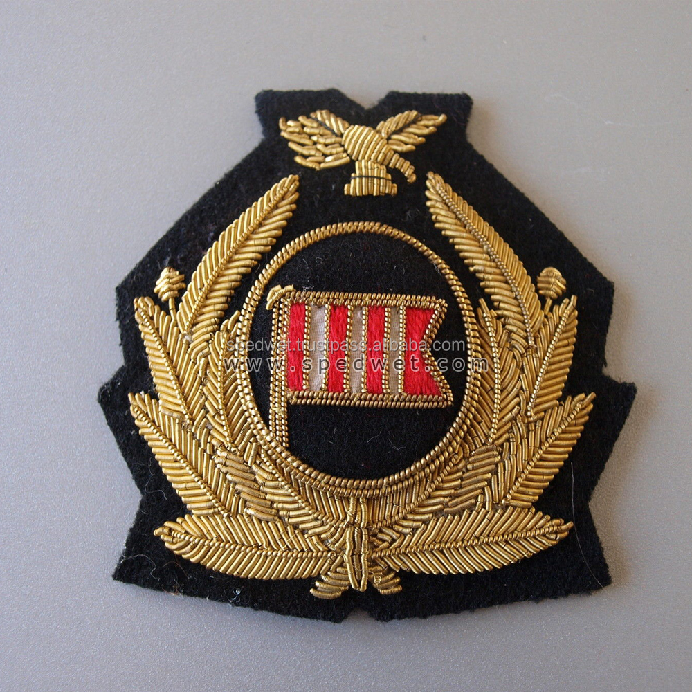 Dan air london pilots officers gold bullion wire embroidery work blazer patch cap badges