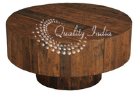 Wooden Block Design Round Shape Raw Coffee Table