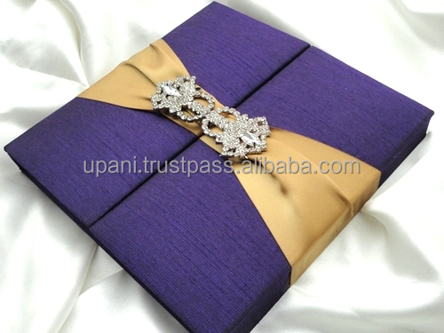 Purple silk Invitation Folio