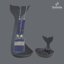 Stunning Modern Gemstone Beaded Rectangle Pendant Necklace & Earring Set Fashion Jewelry Royal Blue
