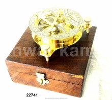 Brass Sundial Compass With Box