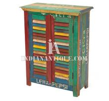 MANGO WOODEN ANTIQUE RECYCLED MULTI COLOR SHUTTER STYLE SMALL ALMIRAH FURNITURE RMC-025