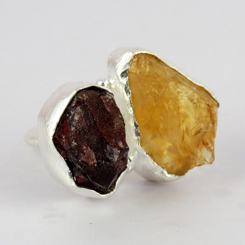 Good Looking Yellow Citrine_Garnet Sterling Silver Ring, Express Delivery Discounted Prices, Wholesale Ring Jewelry