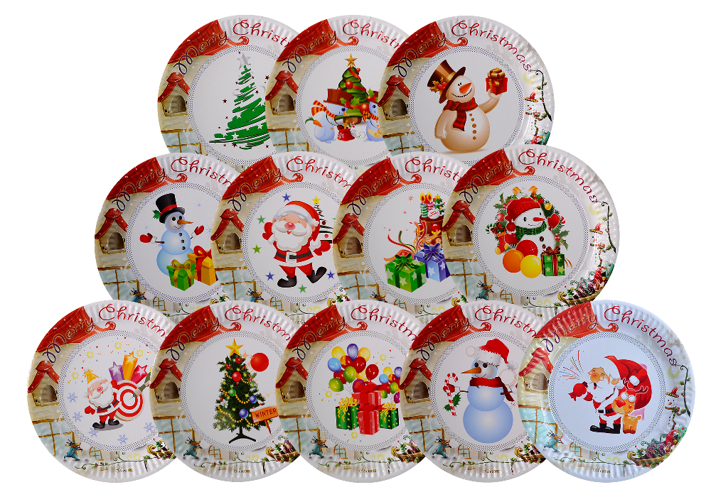 Disposable Paper Plate Party Supplies For Kids Christmas Theme