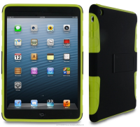 Extreme Hybrid TPU Shell Case flex hard silicone with black clip-on matte shell case for iPad Mini roocase (Green)