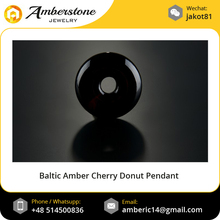 Hand Carved Baltic Amber Cherry Donut Pendant