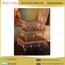 Best Selling Low Rate Luxury High Quality Square Rectangle Crystal Wedding Cake Stand For Sale Shop Wedding Event