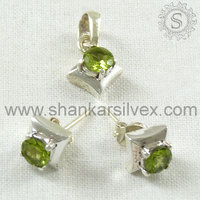 Asian Collection 925 Sterling Green Peridot Jewelry Set Handmade Gemstone Silver Jewerly Exporter