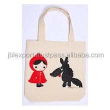 Custom logo cute cartoon printing cotton shopping bag calico bag with handle print