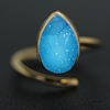 Zeva Ring Women Natural Agate Druzy Gold Plated Popular Fashion Adjustable Ring, Best Jewelry Wholesale Low Price