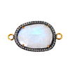925 Sterling Silver Pave Diamond Rainbow Moonstone Connector Latest Collection 14 k Gold Gemstone Connector
