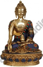 Chinese Tibet Buddhism Lord Buddha Nepal Inlay Art 13""