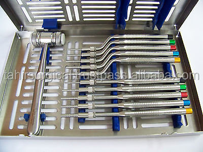 Osteotome Sinus Lift/Sinus Lift Osteotomes Kit Straight Off Set Concave Mead Mallet Cassette Dental Instruments
