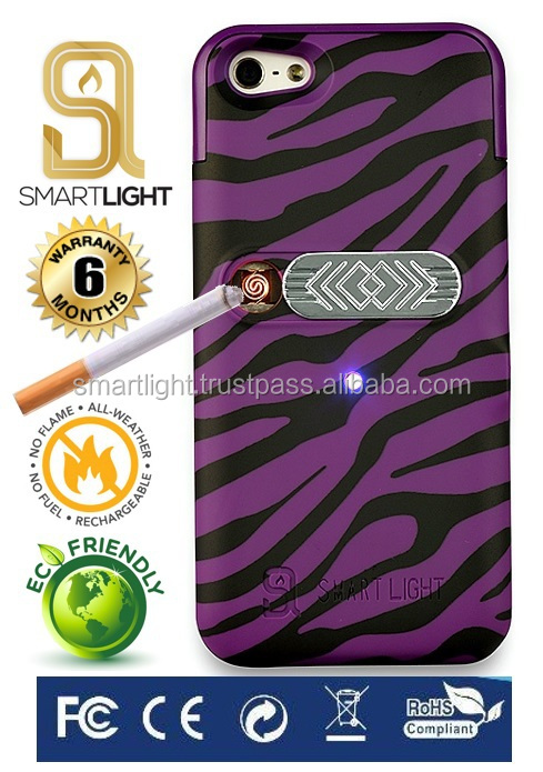 Wholesale hot selling Purple Zebra mobile phone cigarette lighter cover for iPhone 5 5S SE