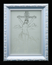 "Jesus On The Cross Fine Glass Mirror Etching TypeB Size 4"" x 5.5"" Inch with Picture Photo Frame"