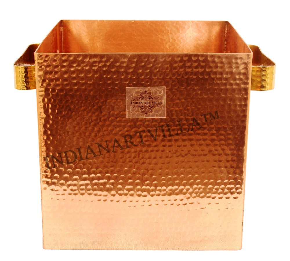 Indian Art Villa Pure Copper Handmade Wine Cooler, Ice Pot - Storage Ice with Wine, Beer, Scotch - Hotel, Restaurants
