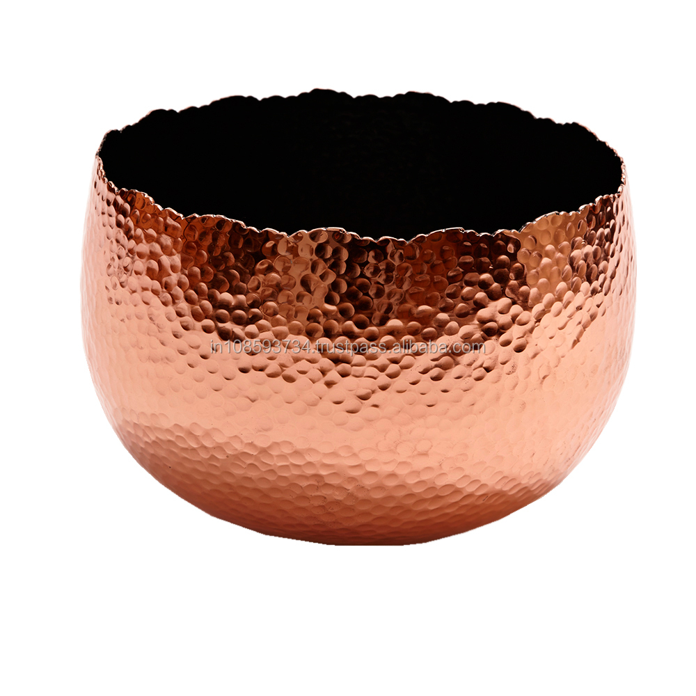 Hammered Copper Bowl With Inner Black Finish