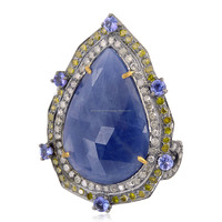 18kt Gold Diamond Designer Blue Sapphire Tanzanite Cocktail Ring 925 Silver Jewelry