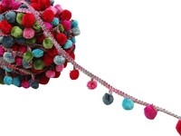 5.5 Mm Embellishment Bobble Trim Craft Multicolour Pom Pom Fringe Trim