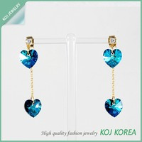 KR-577 crystal heart shaped earring pierce hot sale