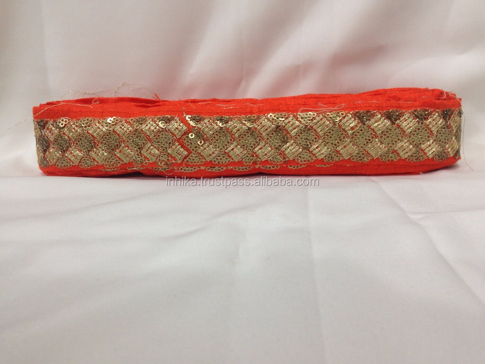 9 mtr lace border trim Orange soft fabric, 4 row sequins n thread embroidery