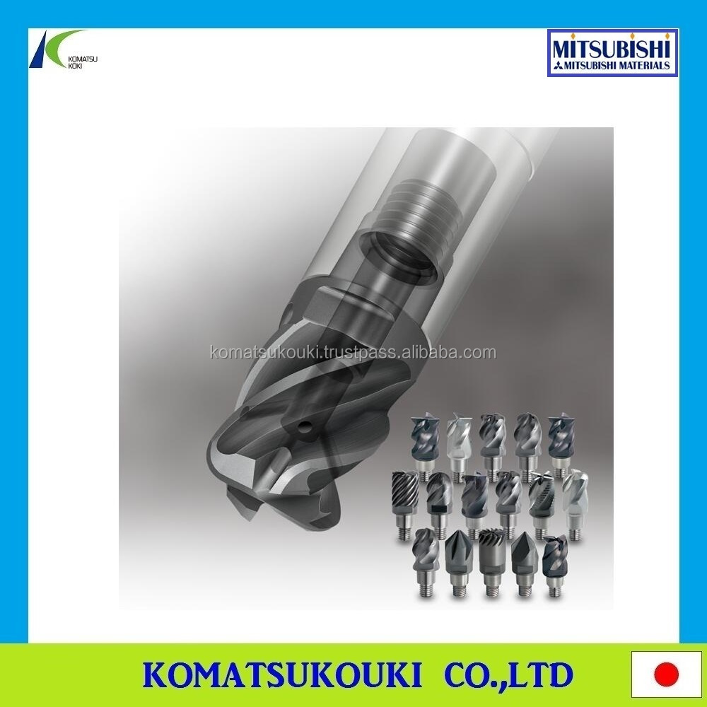 "World first! Mitsubishi iMX series Exchangeable Head End Mills ""Carbide head""+""Carbide holder"" Double face contact type"