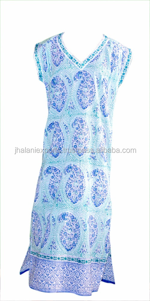 Hand Block Print Traditional Design Long Sleepwear Nighty