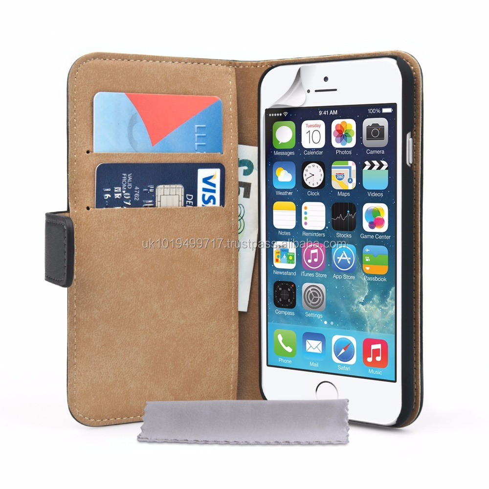 Wallet Case Cover Real Leather for iPhone 6 and 6s - Black