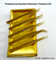 Gold Matching Eyelash Extension Tweezers In Magnetic Case / Get Customized Designed Lash Tweezers Kits From ZONA PAKISTAN
