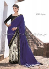 Bountiful Navy Blue Crushed Silk Designer Saree/designer sarees online shopping