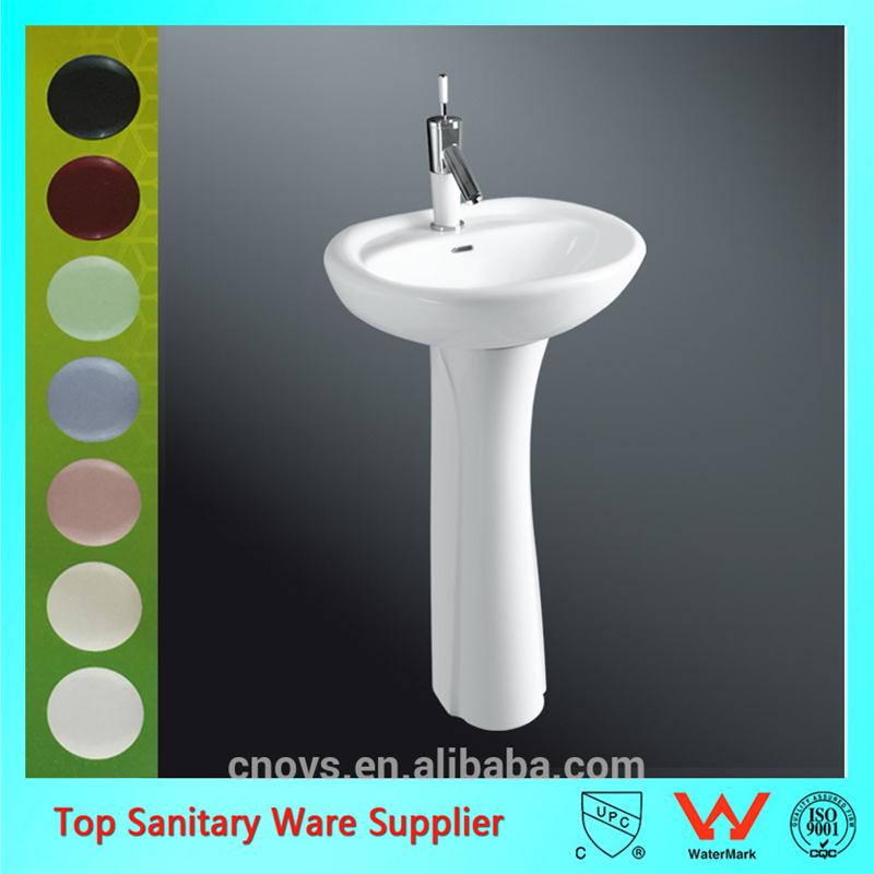 Corner bathroom wash basin with pedestal