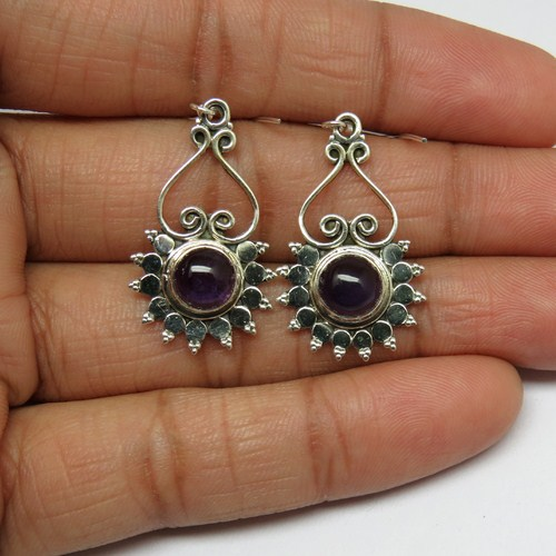 Pure Perfection Of Amethyst Round 925 Sterling Silver Earring, 925 Indian Silver Jewelry, Online Silver Jewelry
